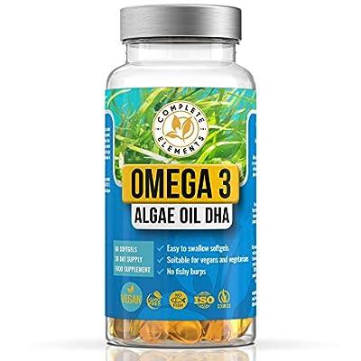 Vegan Omega 3 Algae Oil | 60 High Strength Capsules | 400mg DHA Supplement with Vitamin E | Vegetarian Essential Fatty Acids | Sustainable Marine Algal Alternative to Fish Oil