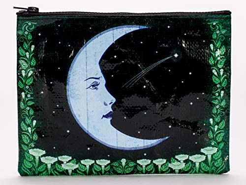 Blue Q Zipper Pouch, Moon, Made Out of 95% Recycled Materials, 7.25 by 9.5 Inches