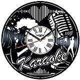 JAXU CWN 'ART Reloj de Pared con Disco de Vinilo para Karaoke, Hecho a Mano para decoración del hogar para Hombres, Mujeres, Amigos, niños