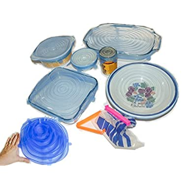 Silicone Stretch Flexi Lids Food Cover Reusable Microwave Storage Airtight Highest Quality with Free Freezer Storage Bag Clips inc. XL & XXL sizes 376g. 11/9.5/8.3/6.5/4.5/2.5in stretches up to 30%