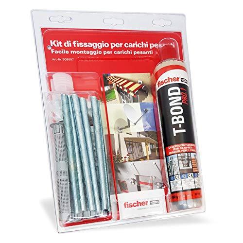 Fischer 508697 Kit di Fissaggio carichi Pesanti T-Bond Ancorante Chimico con Barre Filettate e Tasselli a Rete, Resina