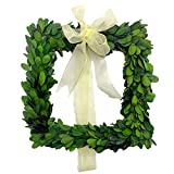 LMflorals Preserved Boxwood Wreath Decor 10 inch, Nature Real Handcrafted Boxwood Square Wreath Green Garland for Indoor Farmhouse Decorations Wreath Wall Window Home Décor (10 inch)