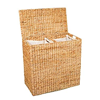 BirdRock Home Water Hyacinth Laundry Hamper Divided Interior (Natural) | Eco Friendly | Made of Hand Woven Hyacinth Fibers | Includes Two Removable Cotton Liners Bag | Wicker Laundry Basket with Lid