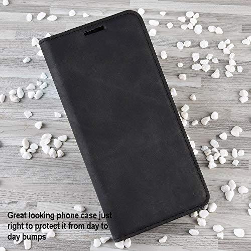 Haoye Passend für Huawei P40 Pro Hülle, hat Magnet-Adsorption-Fähigkeit Premium PU Leder Handyhülle. Schwarz - 2