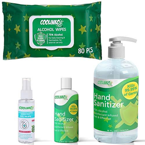 COOLINKO Hand Sanitizer Gel, Spray and Cleaning Wet Wipes Set - Portable 80ct Disposible Wipes, 16 fl oz Pump Dispenser, 3 oz Travel Pocket Size Gel and Spray (4 Pack Bundle Kit)