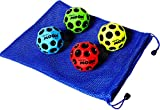 "Waboba MOON Extreme Bounce Bundle of 4 Balls _ in 4 Neon Colors _ BONUS Soft Nylon Net Drawstring 9 x 12"" Royal Blue Carry Bag"