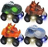 JOYIN 4 Piezas de Coches de Dinosaurio con luz LED y Sonido, Juego de Monster Truck para Fiestas de cumpleaños de niños y Regalos de Pascua