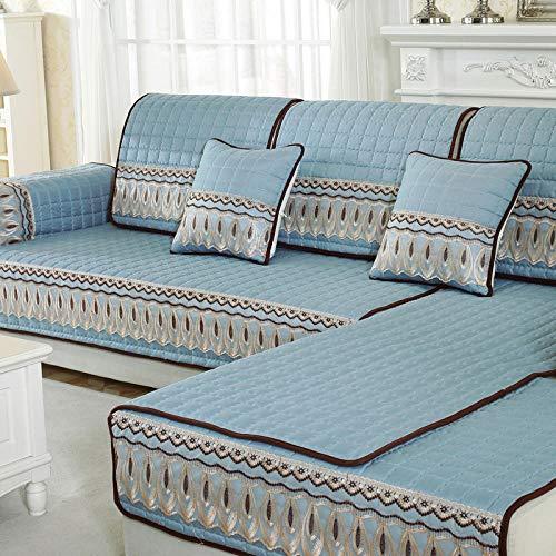 TAYIBO Anti-rutsch Atmungsaktive Sofabezug,Four Seasons Universal-Sofakissen aus gebürsteter Baumwolle, rutschfest hellblau_90 * 160