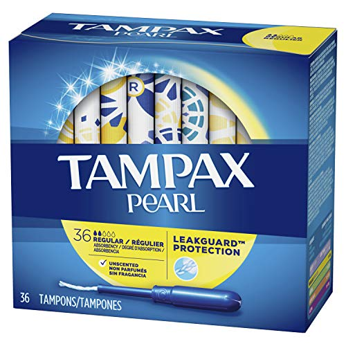 Tampax Pearl Tampons Regular Absorbency with LeakGuard Braid, Unscented, 36 Count