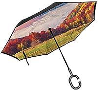 雄大な山々の自然リバーシブル傘牧歌的なカラフルな秋の朝ヨーロッパのピークは、屋外で使用するための抗UV防水防風ストレート傘を印刷します