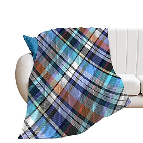 Manta de forro polar de franela para el hogar, la oficina, el sofá, camping, turquesa y real Madras a cuadros grado suave y cálida manta de felpa 130 x 150 cm