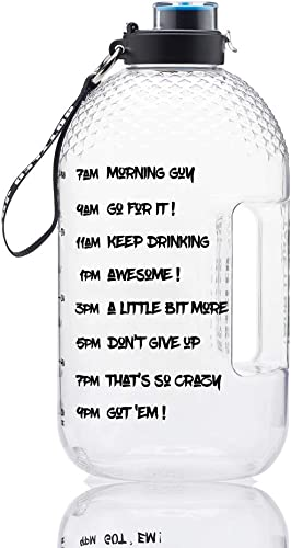 BOTTLED JOY 1 Gallon Water Bottle, BPA Free 128oz Large Water Bottle Hydration with Motivational Time Marker Reminder Leak-Proof Drinking Big Water Jug for Camping Sports Workouts and Outdoor Activity product image