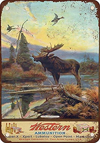 Joycenie Great Tin Sign Aluminum Metal Sign Western Ammunition and Moose Vintage Look 8x12 Inch