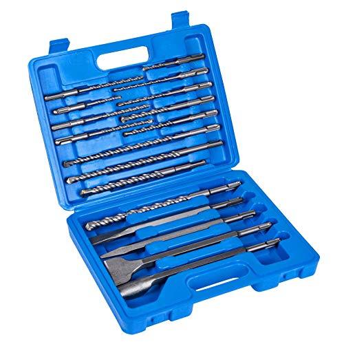 17tlg. SDS-plus Bohr-und Meißelset passend für Bohrhammer, SDS plus Bohrer Set und Meissel set für Beton und Ziegel inklusive Aufbewahrungskoffer