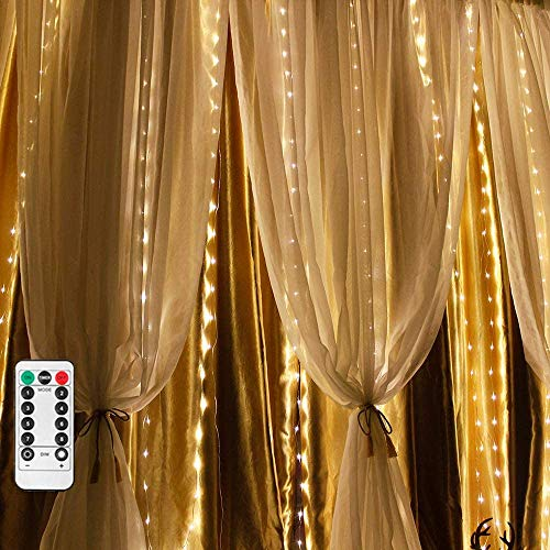LED Fairy Lights Curtain Light, 2 m x 2 m with 200 LEDs, Curtain Light Warm White for DIY Decoration with Remote Control, 8 Modes, Dimmable for Holiday, Wedding, Party, Indoor Decoration