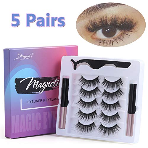 UNICK Hot Sale Long-lasting Waterproof Handmade Natural Long With Tweezer Magnetic Eyeliner Lash Extension Magnetic Eyelashes(Y-23) 6