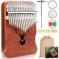 Vibola Solid African Wood 17 Key Kalimba Thumb Piano with Study Instruction and Tuning Hammer
