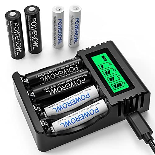 POWEROWL Cargador Rápido de Pilas con 4* AA 2800mAh Pilas Recargables y 4*AAA 1000mAh Ni-MH Baterías Recargables