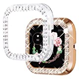 NewWays Compatible with Fitbit Versa 2 Case, Bling Cases for Fitbit Versa Smartwatch (2pcs, Rose Gold/Clear)