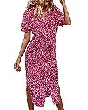 Summer Dresses for Women Boho Floral Elegant Maxi Dress Short Sleeve Flowy Beach Dress V Neck Sundress with Belt (Rose Red, Medium)