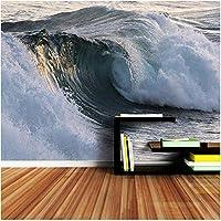 Xbwy 装飾壁画 海の壁紙3 D壁リビングルームダイニング寝室波海景壁紙壁紙家の装飾-120X100Cm