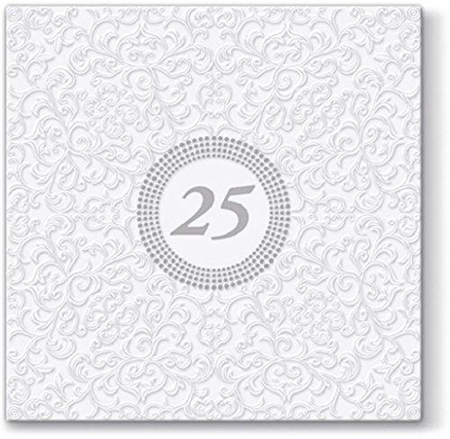 20 Servietten Symbol 25 weiß/silber/Silberhochzeit/Geburtstag 33x33cm