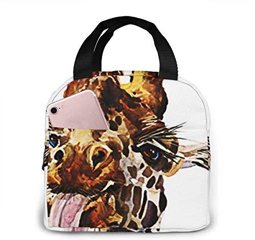 Bolsa de almuerzo con aislamiento Bolsa fresca para loncheras Tela impermeable Bolso de picnic plegable para mujeres Adultos Hombres Niños Divertido jirafa Animal-19