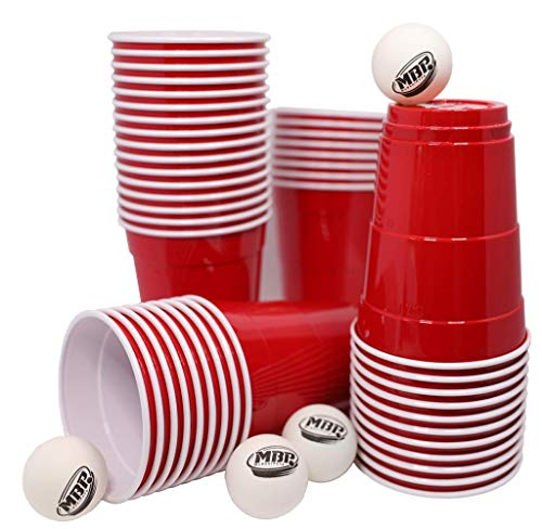 Original My Beer Pong Red Cups 16 oz (400ml), + 6 Beer Bong Bälle