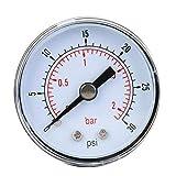 Manómetro de presión de aire, manómetro mecánico para aire, aceite, agua, conexión trasera BSPT de 1/8 pulgadas(0-30 psi, 0-2 bar)