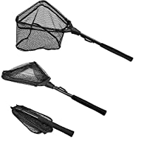 """PLUSINNO Fishing Net Fish Landing Net, Foldable Collapsible Telescopic Pole Handle, Durable Nylon Material Mesh, Safe Fish Catching or Releasing (12""""/31cm Hoop Size (Fixed Pole))"""