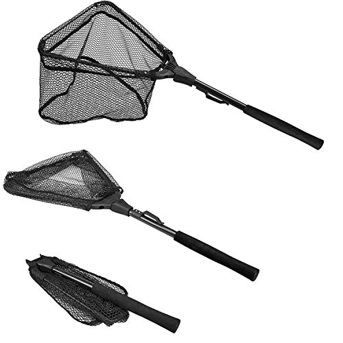 "PLUSINNO Fishing Net Fish Landing Net, Foldable Collapsible Telescopic Pole Handle, Durable Nylon Material Mesh, Safe Fish Catching or Releasing (12""/31cm Hoop Size (Fixed Pole))"