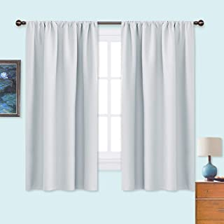 NICETOWN White Bedroom Curtain Panels - Window Treatment Thermal Insulated Rod Pocket Room Darkening Curtains/Drapes for Bedroom (2 Panels,42 by 63,Platinum - Greyish White)