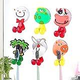 whatUneed Zahnbürstenhalter für Kinder, niedliches Tier an der Wand befestigter Zahnbürstenhalter mit Saugnapf (6er Pack Tier)