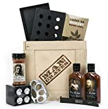 Man Crates Grill Master Crate with Wood Chips, Smoker Box, Sauce and Tenderizer – Great Gifts for Men