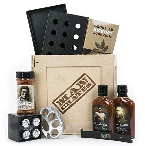 Man Crates Grill Master Crate with Wood Chips, Smoker Box,...