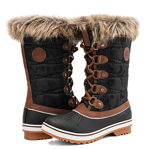 ALEADER Waterproof Snow Boots for Women, Ladies Winter Lace Up Brown Booties with Fur Lined 9 B(M) US