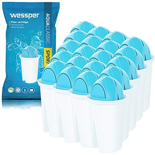 Wessper® AquaClassic Sport Cartouche Filtrante pour Carafe - Compatible avec BRITA Classic, Aqua Optima, PearlCo, AquaCrest – Pack 20