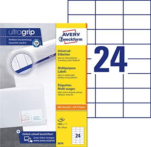AVERY Zweckform 3474 Adressaufkleber A4 (mit ultragrip, 70x37 mm, 100 Blatt, Papier matt, bedruckbare, selbstklebende Adressetiketten, 2.400 Klebeetiketten) weiß