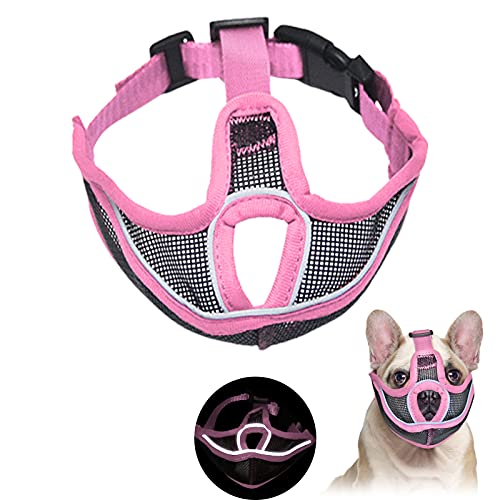 Short Snout Dog Muzzles, Adjustable Bulldog Mask Breathable Mesh Dogs Muzzles, Anti Biting Barking and Licking Chewing, Training Dog Mask for Bull Dogs, Pugs, Shar-Pei, Chihuahua Dogs