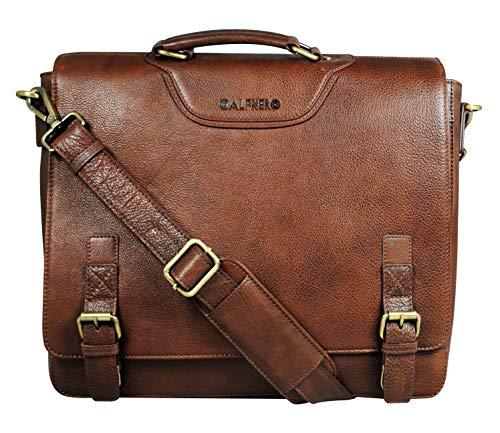 Calfnero Leather 37 cms Brown Messenger Bag (402614)