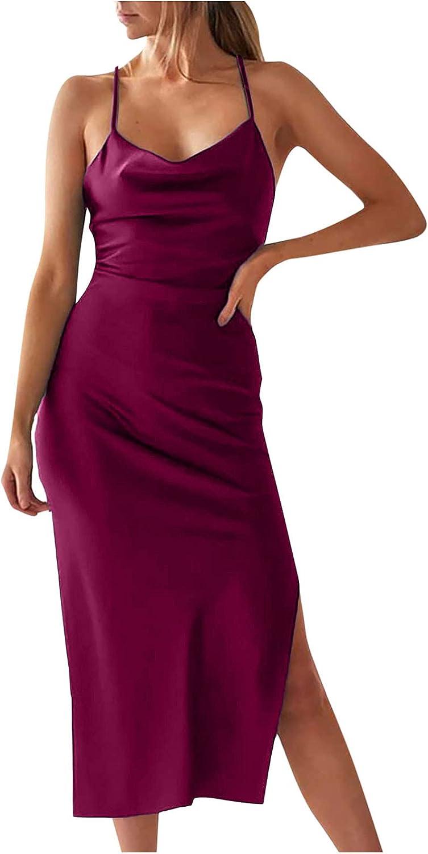 Women Sleeveless Solid Dress V-Neck Off Shoulder Spaghetti Strap Dress Night Club Party Sexy Wrap Slit Midi Dress