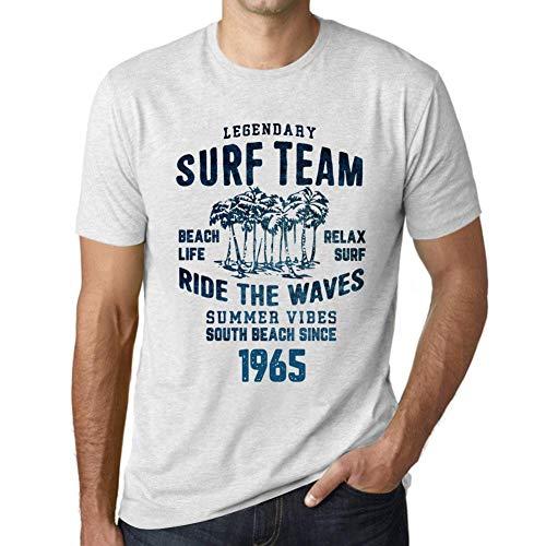 Cityone Uomo Maglietta Tee Vintage T Shirt Surf Team 1965 Regalo di Compleanno 56 Anni Bianco Chiazzato