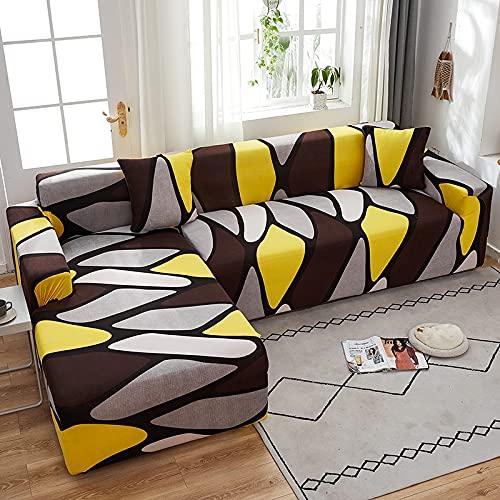 WXQY Chaise Longue Cubierta del sofá de la Sala de Estar Cubierta elástica para el Cabello, Todo Incluido sofá telescópico a Prueba de Polvo en Forma de L sofá A17 de 4 plazas