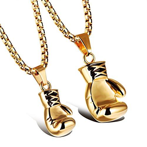 Schmuck Edelstahl Herren Damen Halskette Boxhandschuhen Paar Freundin Anhänger Hochglanz Poliert mit 60cm/55cm Kette (Golden (Paar))