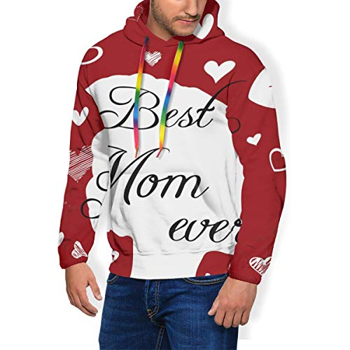 Ts Home Art Best Mom Ever Men's Active Long Sleeve Fleece Lined Fashion Hoodie Pullover Black