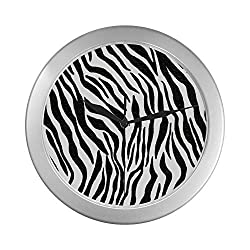 LIPink Clocks for Bedrooms Walls Zebra Black and White Stripes Funny Wall Clock 9.65 Inch Silver Quartz Frame Decor for Office/School/Kitchen/Living Room/Bedroom