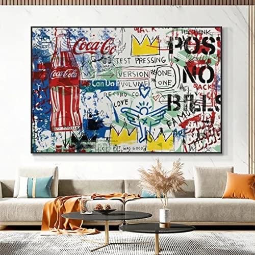 Danjiao Graffiti Art Cola Botella Lienzo Carteles E Impresiones Pop Street Art Zapatos Deportivos Cuadros De Pared Para La Decoración Moderna De La Sala De Estar Del Hogar Decor 40x60cm