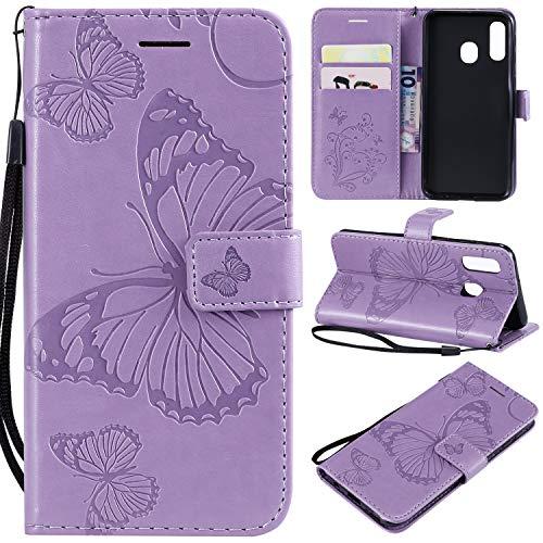 SMYTU Custodia Samsung Galaxy A40 Case, Porpora Flip Magnetica Premium Pu Custodia in Pelle con Rilievo Supporto di Stand Built-in Card Slot Cover (B-Porpora)
