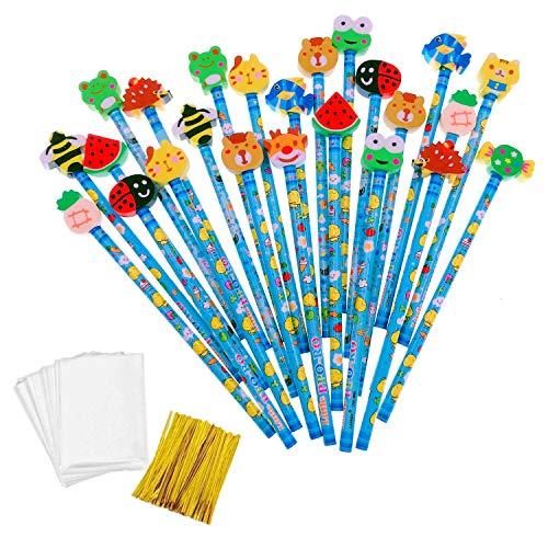 JZK 24 x Blau Schule HB Stifte Set Bleistifte mit Radiergummi von Tiere Blumen Sonne Schmetterling etc für Geburtstag Mitgebsel Geschenk Kinder Party Gastgeschenk