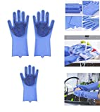 Ivaan Magic Dishwashing Gloves with Scrubber, Silicone Cleaning Reusable Scrub Gloves for Wash...